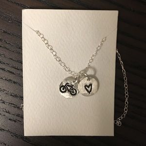 Bicycle heart charm necklace